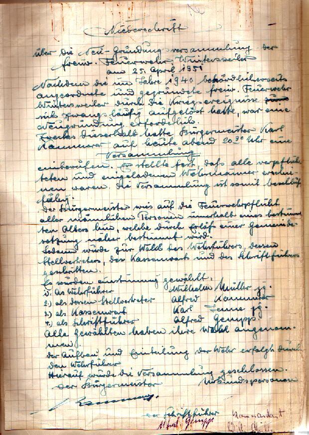 Gründungsurkunde 1951